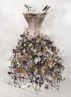 Fairy corset dress with a flower skirt!