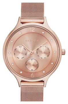 Women's Skagen 'Anita' Crystal Index Chronograph Mesh Strap Watch, 36mm - Rose Gold