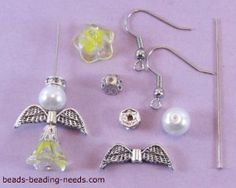 Crystals Pearl and glass flower beads make up these Angel Earrings