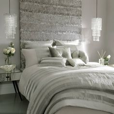 Bedside chandeliers!! YES! Get the best of both worlds: my ceiling fan AND the glamor of chandeliers!!