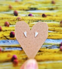 Love is Simple Skiny Heart Studs Sterling Silver by AdeloCreations, $24.00