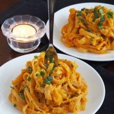Pumpkin Alfredo Pasta (No Cream) HealthyAperture.com