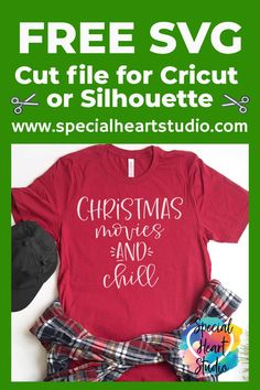 Christmas Movies and Chill. Make a fun Christmas shirt with your Cricut or Silhouette. Funny Christmas Shirts, Christmas Svg, Chrismas Movies, Christmas Craft Projects, Brother Scan And Cut, Free Svg Cut Files, Embroidery Files, Svg Cuts, Cutting Files