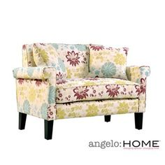 @Overstock - The angelo:HOME Ennis loveseat combines modern lines with traditional details. The Ennis loveseat features squared arms, dark walnut finished legs and is covered in a lovely floral pattern on a sandstone background.http://www.overstock.com/Home-Garden/angelo-HOME-Ennis-Floral-Loveseat-with-Pillows/6059898/product.html?CID=214117 $419.99