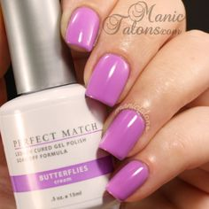 Spring Dot Manicure with LeChat Gel Polish Happily Ever After, Butterflies, Angel from Above and Pink Lady. Shellac Nail Polish, Gel Polish Colors, Gel Nails, Gel Color, Nail Nail, Nail Polishes, Perfect Match Gel Polish, Pretty Nail Art, Purple Lilac