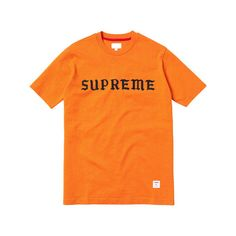 Supreme Rocksteady Top (1,205 MXN) ❤ liked on Polyvore featuring tops, t-shirts, shirts, tees, tee-shirt, orange shirt, shirt top, orange t shirt and t shirt