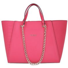 Guess Nikki Chain Tote Passion in gold, magenta, Handle Bags ($155) ❤ liked on Polyvore featuring bags, handbags, tote bags, guess tote bags, handbag tote, pocket tote, pink purse and zip tote bag