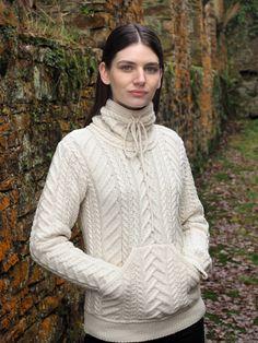 Cowl Neck Ladies Sweater by Natallia Kulikouskaya for AranCrafts of Ireland