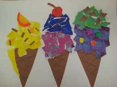 Tear art ice cream cones.  Would go great with writing about ice-cream and favorite flavors.