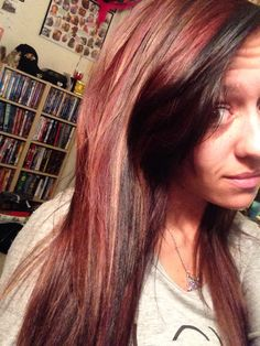 Dark brown and red hair with blonde highlights  #HairByKayla