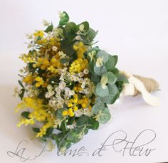 Sunshine - Wedding bouquet. Garden posy of Australian native wattle, mini daisies and gum foliage. Pretty yellow and white bouquet.