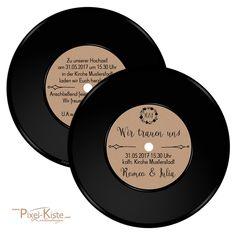 runde Einladungen Hochzeit Schallplatte Vintage Einladungskarten Geburtstag