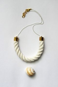 Chain and Rope Necklace  Natural Piping Cord by HearsayDesigns, $32.00