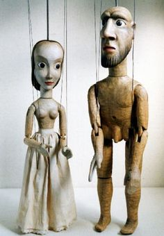"puppet research...I like this shapes and this simple style ...  ""Man & Woman"" Jiri Bares / The Art of Puppets"