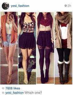 The two outfits on the left are perfect for summer and the other two are really good for going out for a walk around the town when its a little chilly.
