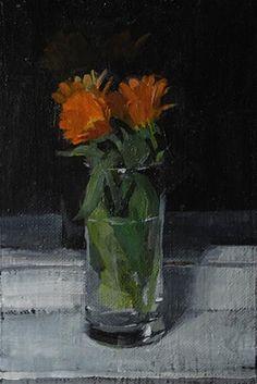 flowers at night - Original Fine Art for Sale - © Simon Shawn Andrews