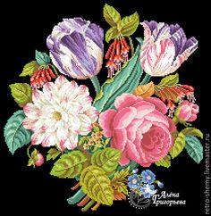 """Купить Схема вышивки """"Букет с двумя тюльпанами"""" - схема для вышивки, схема для вышивки крестом"""