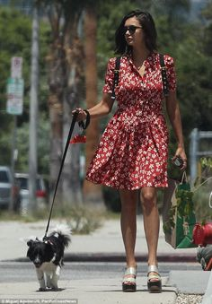 Nina Dobrev takes precious pooch on a walk in Los Angeles | Daily Mail Online