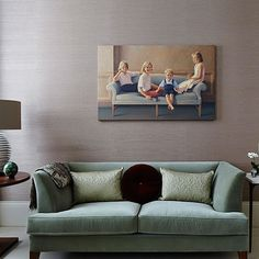 Living room with sage green sofa Mint Living Rooms, Taupe Living Room, Elegant Living Room, Living Room Green, Formal Living Rooms, Living Room Modern, Living Room Sofa, Home Living Room, Living Room Designs