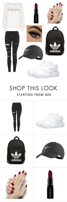 """"""""""" by alicia-1307 ❤ liked on Polyvore featuring moda, Topshop, adidas Originals, NIKE, Smashbox, Wildfox, women's clothing, women's fashion, women y female"""