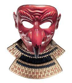 Red Tengu Somen (mask) Mid Edo Period, century By Geishu Myochin Kiyoyoshi, The iron mask forged in one piece with the beak and ears riveted on, beneath the chin are two otayori no kugi,. Kabuto Samurai, Samurai Weapons, Samurai Helmet, Samurai Armor, Broly Ssj3, Japanese Mask, Edo Period, First Art, Tumblr