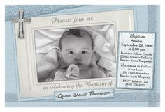 Sweet baby blue christening invite.