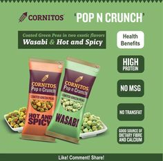 Did you try the exotic flavours of #CoatedGreenPeas ? Eat healthy, stay healthy with @cornitos #Wasabi #HotAndSpicy  LIKE. COMMENT.