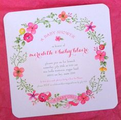 Pretty Wreath Baby Girl Shower Invitations by @Tiny Prints || { the tichenor family. }: Celebrate Blaire!