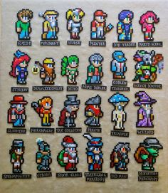 Terraria characters Perler Magnets by PIXELPLAYERS on Etsy https://www.etsy.com/listing/290403461/terraria-characters-perler-magnets