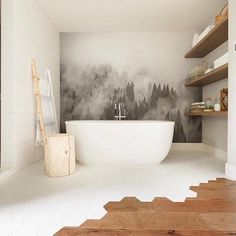 Foggy hills mural black and white wallpaper large wall art listen to your clients they ll tell you all about vintage wallpapers Bad Inspiration, Bathroom Inspiration, Bathroom Ideas, Bathroom Organization, Bathroom Mural, Remodel Bathroom, Bathroom Renos, Bathroom Layout, Bathroom Storage