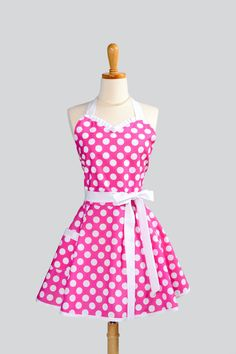 Womens Flirty Sweetheart Apron - Retro Pin-up Ruffles Hot Pink and White Large Polka Dot. $37.00, via Etsy.