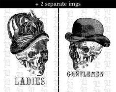 Toilette signe Mesdames Messieurs crânes par luminariumgraphics