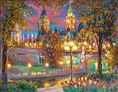 Tulip Night - Framed Fine Art Original Painting on canvas, by world renowned artist Elena Khomoutova