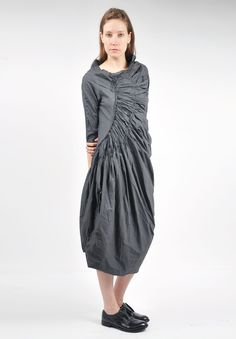 Rundholz Black Label Ruched Tulip Dress in Tang