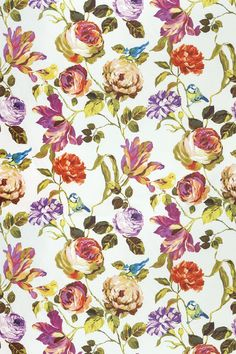 Country Garden Summer (8530/348) - Prestigious Fabrics - A bold, wide width floral trail with flamboyant flowers and cute garden birds. Shown here in pink, oranges, olive green and yellow on a pale neutral background. Other colourways are available. Please request a sample for a true colour match.