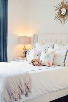 Spring Bedroom decor, floral pillows