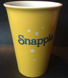 Snapple Cup Tumbler Mug 2014 Yellow Hard To Find Possible Promotional Item