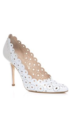 Light Aquamarine & Oyster Bea Pump by Oscar de la Renta for Preorder on Moda Operandi