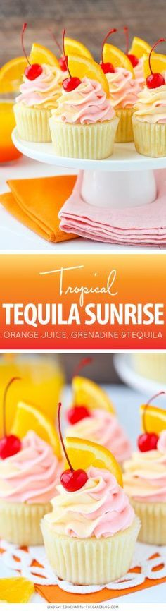 Tequila Sunrise Cupcake Recipe | by Lindsay Conchar for http://TheCakeBlog.com