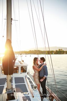 Gold dress engagement shoot on a nautical wood sailboat in Vancouver. Photography by Angela Waterberg or Blush Photography  http://www.photosbyblush.com