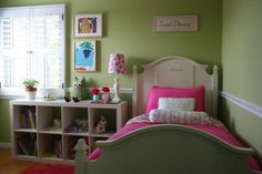 Warm Green. Because green represents harmony and balance, I think it is one of the best color choices for active children and teens. These days, some kids have busier schedules than their parents. Retreating to a green bedroom is one way to help our kids wind down and regroup. Warmer and muted greens feel the most inviting.    Paint pick: Shagreen 6422 by Sherwin-Williams