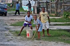 Photograph of Playing cricket in the streets of Bartica - Guyana - Central America