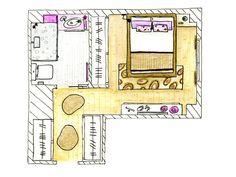 Plano de distribución de un dormitorio tipo suite