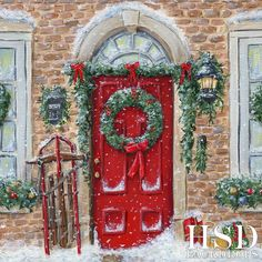 Capture Christmas memories this season with the Red Christmas Door photography backdrop. This design pairs perfectly with our Winter Stone Floor. Rainbow Christmas Tree, Diy Christmas Garland, Christmas Door Wreaths, Indoor Christmas Decorations, Christmas Tree Design, Christmas Mantels, Red Christmas, Vintage Christmas, Holiday Decor