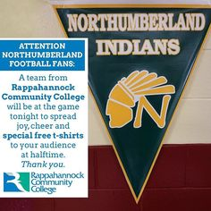 ATTENTION Northumberland High School - NHS football fans! RCC will be at the game tonight to spread joy cheer and free t-shirts to your audience at halftime. Thank you #fridaynightlights #football #rappahannock #community #college #nnk #northumberland #northernneck #virginia