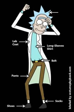 His spiky light blue hair is enough reason to dress up as Rick from the crazy Adult Swim cartoon, Rick and Morty!   Full guide: http://costumeplaybook.com/cartoons/3473-rick-and-morty-costume/