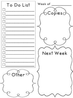 Free Weekly Planner To Do List: Laminate and use dry erase marker :) me likey for next year! Classroom Organisation, Teacher Organization, Classroom Management, Organized Teacher, Behavior Management, Teacher Binder, Teacher Tools, Teacher Resources, Teachers Toolbox