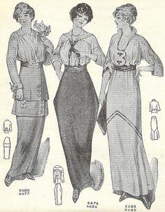 1914 Skirts A trio of skirt patterns from Needlecraft magazine, June 1914.