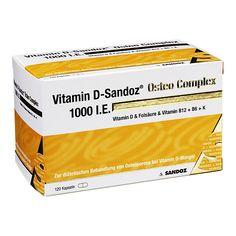 Vitamin D-Sandoz 1000 I.E. Osteo Complex, 120 St   PZN: 6452022   WIRKSTOFF:  Colecalciferol, Vitamin K   HERSTELLER: Sandoz Pharmaceuticals GmbH   • Unterstützt den Knochenaufbau und die Muskelfunktion • Fördert die Calciumaufnahme im Darm und die Einlagerung von Calcium in die Knochen >> http://www.juvalis.de/6452016/vitamin-d-sandoz-1000-i.e.-osteo-compl.hartkaps. << #Apotheke #Arzneimittel #Medikamente #Vitamine