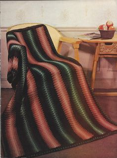 🎨 Crochê lListra da Herança Criações Afegão Padrão -  /   🎨 Crochet Stripe Heirloom Afghan Pattern Creations -